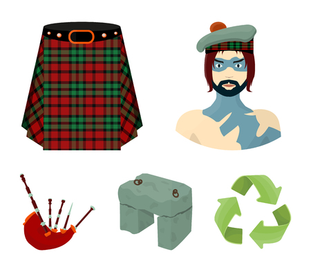Highlander, Scottish Viking, tartan, kilt, scottish skirt, scone stone, national musical instrument of bagpipes. Scotland set collection icons in cartoon style vector symbol stock illustration web.