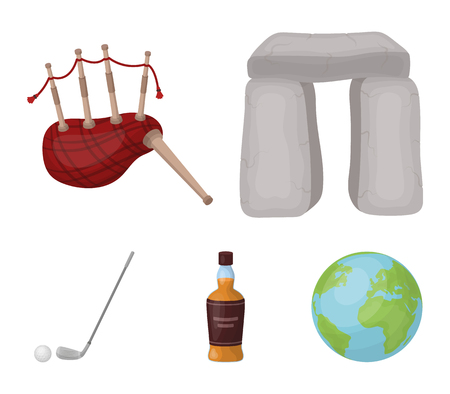 Stone monument, bagpipe, whiskey, golf. Scotland country set collection icons in cartoon style vector symbol stock illustration web.