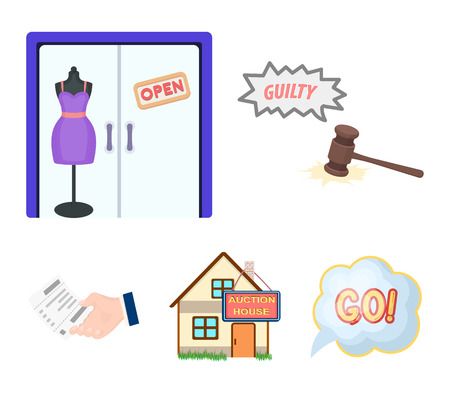 Justice, womens clothin and other web icon in cartoon style. the auction house, a check about payment icons in set collection.