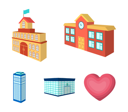 Bank office, skyscraper, city hall building, college building. Architectural and structure set collection icons in cartoon style vector symbol stock illustration web.