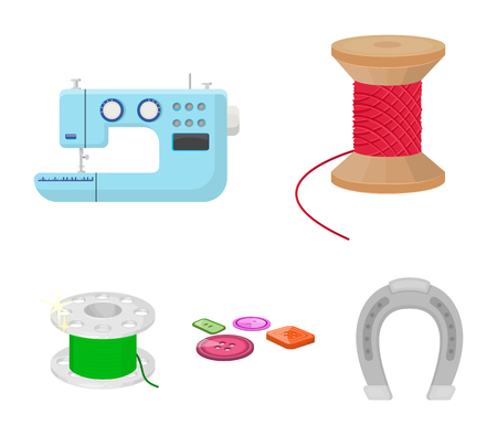 Thread reel, sewing machine, bobbin, pugwitz and other equipment. Sewing and equipment set collection icons in cartoon style vector symbol stock illustration web.