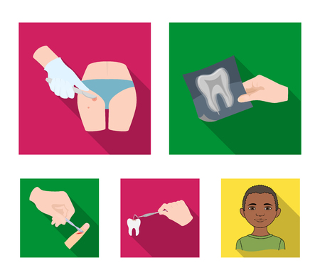Tooth, X-ray, instrument, dentist and other web icon in flat style.surgeon, abscess, scalpel icons in set collection. Illusztráció