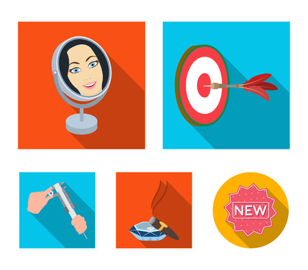 Game Darts, reflection in the mirror and other web icon in flat style. Cigar in ashtray, calipers in hands icons in set collection. Vettoriali