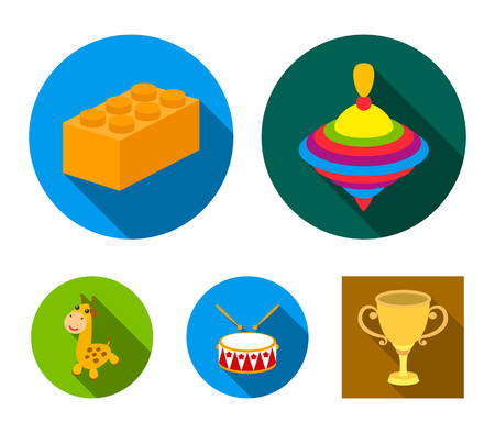 Yula, block, drum, giraffe.Toys set collection icons in flat style vector symbol stock illustration web.