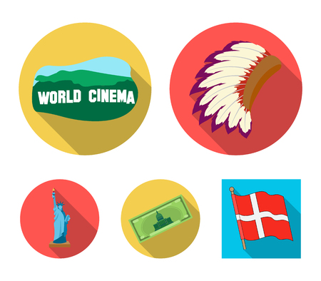 Mohavk, world cinema, dollar, a statue of liberty.USA country set collection icons in flat style vector symbol stock illustration web. Illustration