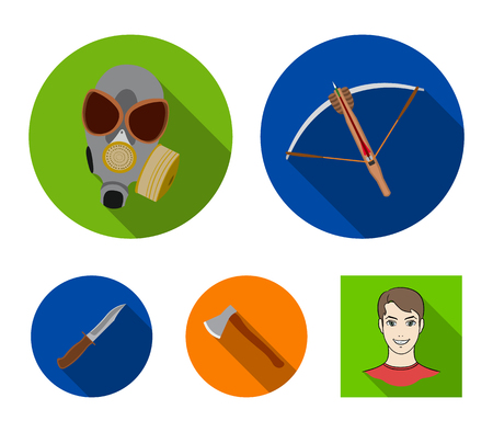 Crossbow, gas mask, ax, combat knife. Weapons set collection icons in flat style vector symbol stock illustration .