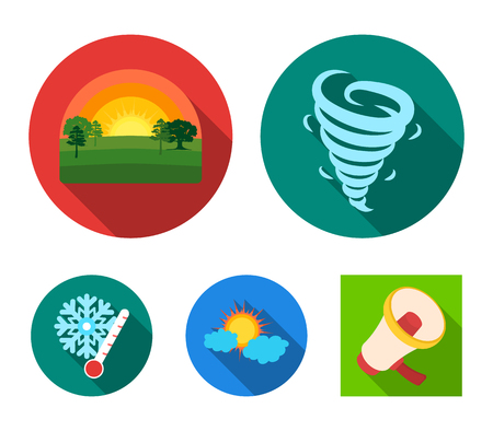 Tornado, sunrise, cloudiness, snow and frost. The weather set collection icons in flat style vector symbol stock illustration . Ilustração