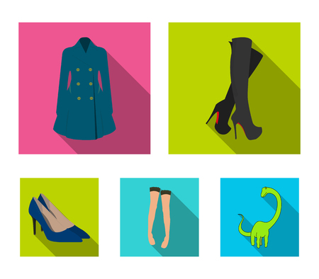 Women's high boots, coats on buttons, stockings with a rubber band with a pattern, high-heeled shoes. Women's clothing set collection icons in flat style vector symbol stock illustration web.