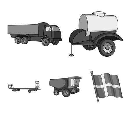 Trailer with a barrel, truck and other agricultural devices. Agricultural machinery set collection icons in monochrome style vector symbol stock illustration . 向量圖像
