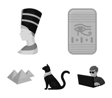 Eye of Horus, black Egyptian cat, pyramids, head of Nefertiti.Ancient Egypt set collection icons in monochrome style vector symbol stock illustration .
