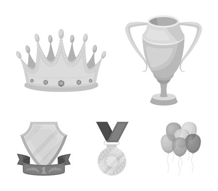 Set of awards and trophies icon in monochrome style illustration. Illustration