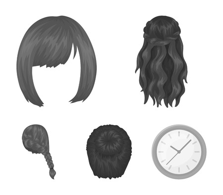 Set of hairstyle  icons in monochrome style illustration.