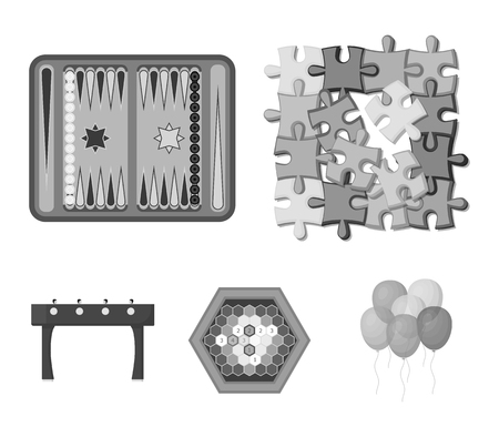 Board game monochrome icons in set collection for design. Game and entertainment vector symbol stock  illustration. Vettoriali