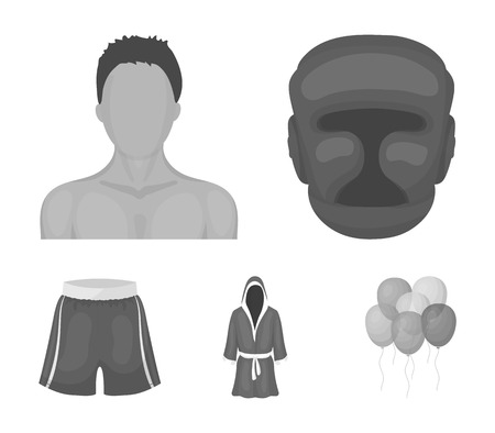 Boxing, sport, mask, helmet .Boxing set collection icons in monochrome style vector symbol stock illustration . Çizim