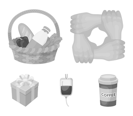 Gesture of the hands in support, a basket with food for charity, donor blood, a gift donation box. Charity and donation set collection icons in monochrome style vector symbol stock illustration web.
