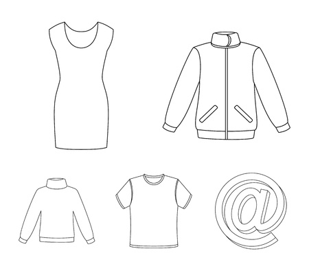 A mans jacket, a tunic, a T-shirt, a business suit. Clothes set collection icons in outline style vector symbol stock illustration web.