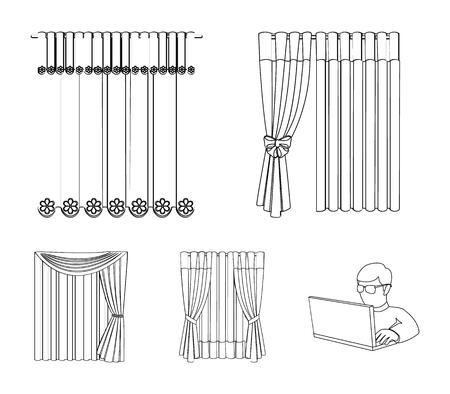 Curtains, drapes, garters, and other web icon in outline style. Textiles, furniture, bow icons in set collection.