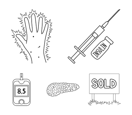 Syringe with insulin, pancreas, glucometer, hand diabetic. Diabet set collection icons in outline style vector symbol stock illustration web.