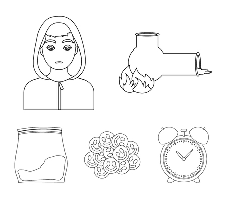 Vong, drug addict, package with marijuana, ecstasy. Drugs set collection icons in outline style vector symbol stock illustration web.