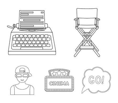 Chair of the director, typewriter, cinematographic signboard, film-man. Films and cinema set collection icons in outline style vector symbol stock illustration .