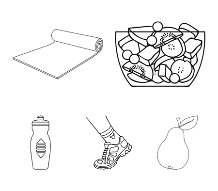 A bowl of fruit salad, a mat, a sneaker on the leg, a bottle of water. Fitness set collection icons in outline style vector symbol stock illustration .