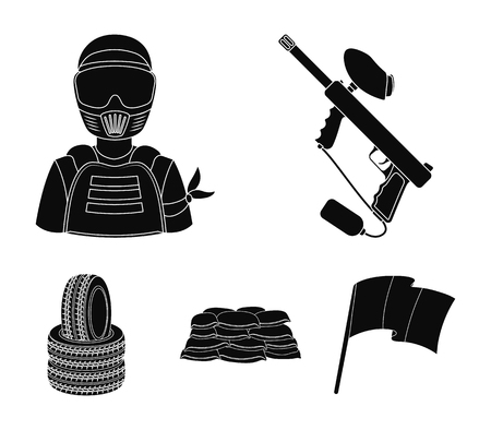 Paintball marker, player and other accessories. Paintball single icon in black style vector symbol stock illustration web.