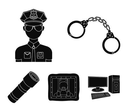 Handcuffs, policeman, prisoner, flashlight.Police set collection icons in black style vector symbol stock illustration web. Illustration