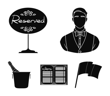 Waiter, reserve sign, menu, champagne in an ice bucket.Restaurant set collection icons in black style vector symbol stock illustration web. Illustration