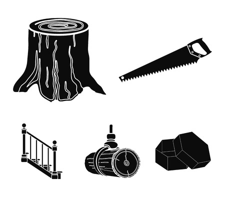 A hacksaw, a stump, a staircase with handrails, a beam. A sawmill and timber set collection icons in black style vector symbol stock illustration web. Stock fotó - 95014607