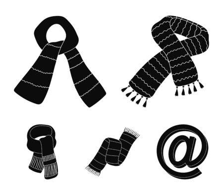 Various kinds of scarves, scarves and shawls. Scarves and shawls set collection icons in black style vector symbol stock illustration web.