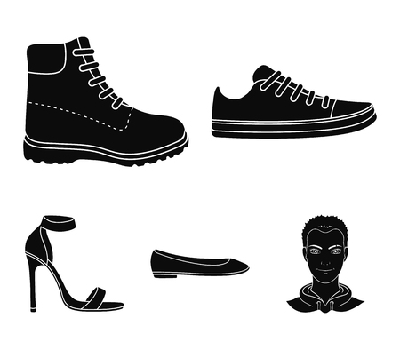 Sneakers with laces, winter warm boots on high soles, womens ballet flats, high-heeled sandals. Shoes set collection icons in black style vector symbol stock illustration web. Illustration