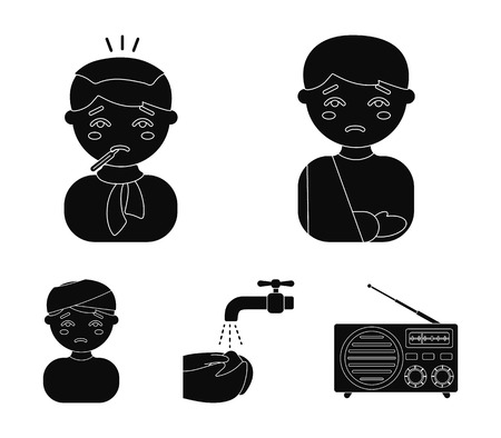 A man with a broken arm in a cast, a patient with a thermometer in his mouth in a scarf, hands under a stream of water, wash, a boy with a bandaged head bandage. Sick set collection icons in black style vector symbol stock illustration web. Illustration