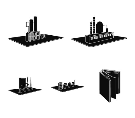 Verwerkingsfabriek, metallurgische fabriek. Fabriek en industrie instellen collectie iconen in zwarte stijl isometrische vector symbool stock illustratie web. Vector Illustratie