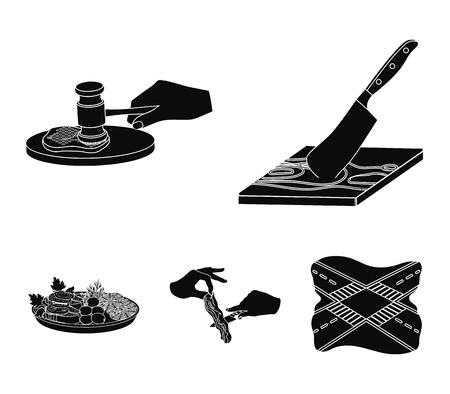 Cutlass on a cutting board, hammer for chops, cooking bacon, eating fish and vegetables. Eating and cooking set collection icons in black style vector symbol stock illustration web. Banque d'images - 95014615