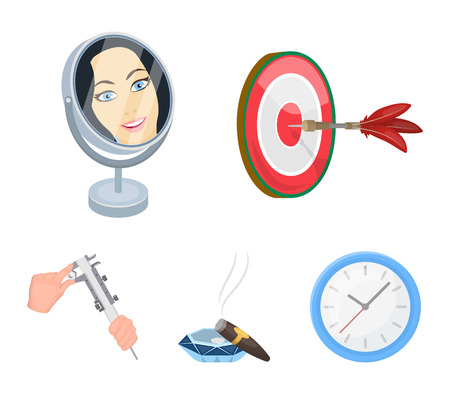 Game Darts, reflection in the mirror and other web icon in cartoon style. Cigar in ashtray, calipers in hands icons in set collection.