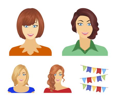 L'aspetto di una donna con una pettinatura, il volto di una ragazza. Icone stabilite della raccolta dell'aspetto e del fronte nel web dell'illustrazione delle azione di simbolo di vettore di stile del fumetto.