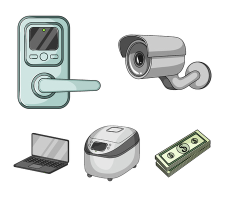 Home appliances and equipment cartoon icons in set collection for design.Modern household appliances vector symbol stock web illustration. Illustration