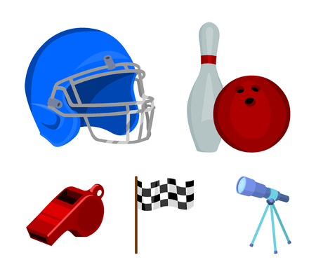 Bowl and bowling pin for bowling, protective helmet for playing baseball, checkbox, referee, whistle for    referee. Sport set collection icons in cartoon style vector symbol stock illustration web.