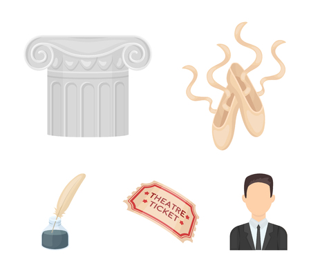 Pointe shoes, column, theater ticket, inkwell with feather. Theater set collection icons in cartoon style vector symbol stock illustration web.