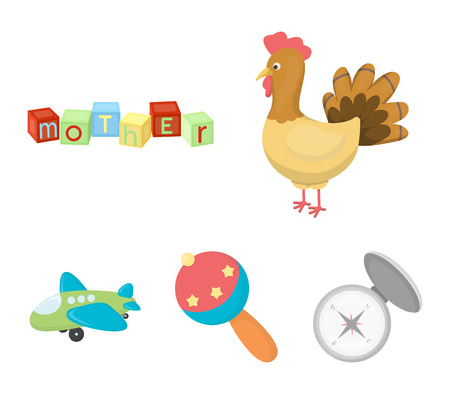 Childrens toy cartoon icons in set collection for design. Game and bauble vector symbol stock web illustration.