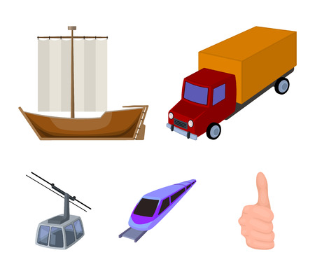 The truck, the boat, the subway, the funicular modes of transport. Transport set collection icons in cartoon style vector symbol stock illustration .