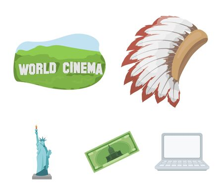Mohavk, world cinema, dollar, a statue of liberty.USA country set collection icons in cartoon style vector symbol stock illustration . Illustration
