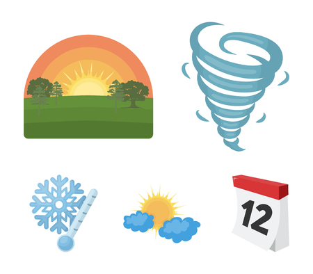 Tornado, sunrise, cloudiness, snow and frost. The weather set collection icons in cartoon style vector symbol stock illustration .