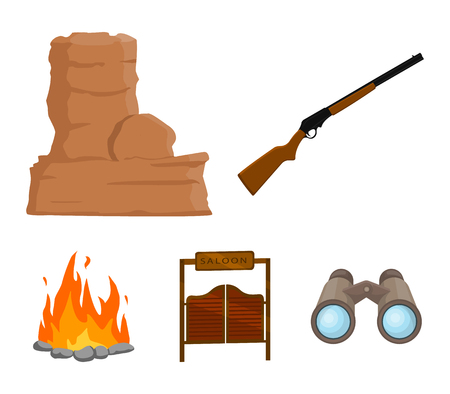 Winchester, saloon, rock, fire.Wild west set collection icons in cartoon style vector symbol stock illustration .