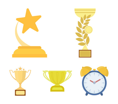 Gold Cup cartoon icons in set collection for design.