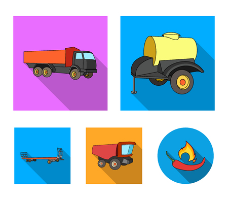 Agricultural machinery set collection icons in flat style vector symbol stock illustration.