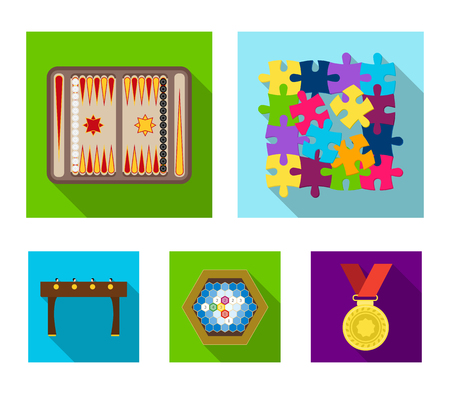 Board game flat icons in set collection for design. Game and entertainment vector symbol stock web illustration. Stock Vector - 95014772