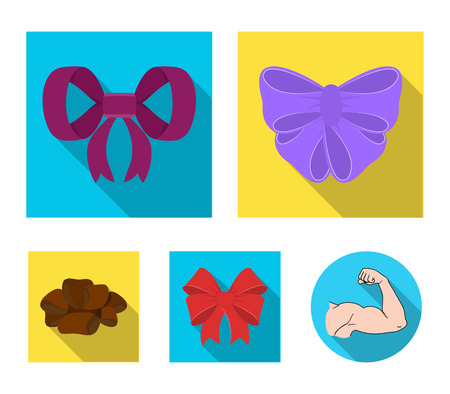 Ornamentals, frippery, finery and other web icon in flat style.Bow, ribbon, decoration, icons in set collection.