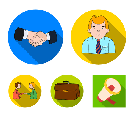 Businessman, handshake, portfolio, agreement.Business-conference and negotiations set collection icons in flat style vector symbol stock illustration web.