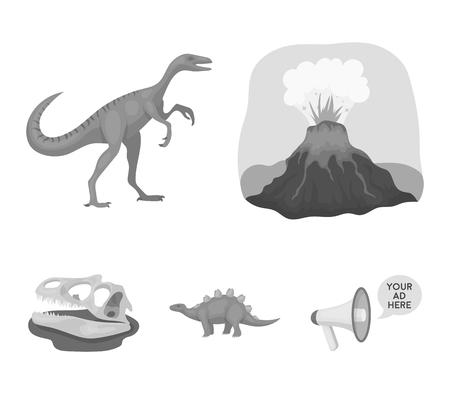 Volcanic eruption, gallimimus, stegosaurus,dinosaur skull. Dinosaur and prehistoric period set collection icons in monochrome style vector symbol stock illustration web. Иллюстрация
